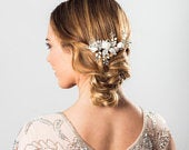 Freya pearl and silk flowers silver hair comb
