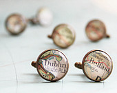Map Cufflinks 3 SETS Groomsmen gifts Customized map cufflink Personalized destination weddings mens accessories chose your location