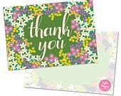 Pack of 10 Thank You Postcards with Brown Kraft Envelopes Spring Floral