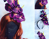 Gorgeous orchid flower headband headdress fascinator crown wedding bridal hendo drag bride bridesmaid
