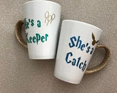 Hes a keeper/Shes a catch engagement gift, wedding gift, new home gift, couples gift, personalised hp gift, personalised hp mugs