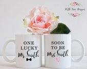 Set Of Two Engagment Soon to be Mrs Lucky Mr Mrs Bride and Groom Husband Wife Coffee Mug Tea Cup Personalised Custom Wedding Present Gift
