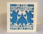 Engagement Card Papercut Personalised Gay Engagement Card Lesbian Engagement Card Paper Cut Personalized Champagne Glasses