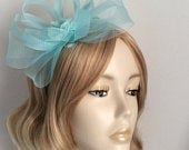AQUA BLUE FASCINATOR, Made with Crin, chiffon flower,inset with crystals and pearls , On a headband