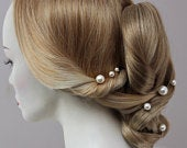 Large Pearl Hair Pins Set of 3, 5 or 7 Statement Pearl Bridal Hair Accessory for Bride or Bridesmaid, Mixed Pearl Sizes to wear Side or Back