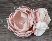 Beautiful Blush Pink Pearl Bridal Fascinator Hair Flower Wedding accessory Hair Comb Brooch Clip Pin Wedding Accessories
