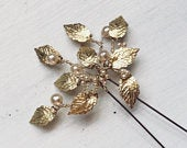 Bridal hair accessories, gold bridal accessories, gold leaf hairpin, leaves, bridesmaids, bride, pearls