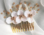 Flower Comb White Pearl Gold Slide Comb Pins Vine Wedding Bridal Occasion Hair Accessory