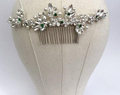Emerald Green bridal hair vine Bridal hair comb silver crystal hair comb crystal Wedding hair comb