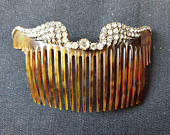 Antique Celluloid and Rhinestone Hair Comb Late 1800s Early 1900s Victorian Edwardian Original
