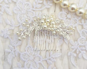 Bridal Hair Comb Silver Clear Crystal Pearl Flower Leaf Gift Boxed Floral Wedding Accessory Bride Prom Bridesmaid Boho