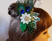 Bridal Peacock Feather hair comb, Crystal Blue Green Clip.Romantic feather Fascinator Bridal hairpiece, hair accessory, Peacock feather clip
