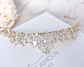 Gold tiara Wedding tiara Tiara crown Crystal headpiece Bridal hair accessories Crystal tiara Wedding hair piece Bridal headpiece Gold crown