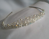 Handmade swarovski pearl crystal wedding bridal tiara headress