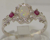 9K English White Gold Natural Opal Ruby Unique Victorian Delicate Promise Ring Made in England Customize:9K,14K,18K,Yellow, Rose,White