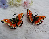 Orange feather butterfly hairclips x 2 3 wingspan wedding bride bridesmaid flower girl