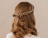 Gold Floral Multipiece Halo, Gold Bridal Flower Halo, Gold flower crown,
