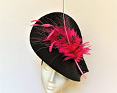 Black Pink Kentucky Derby Hat Fascinator, black pink fascinator hat Wedding Ascot Derby Races Ladies Day garden, bright hot pink fascinator