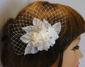 Bridal hair comb bridal fascinator clip Wedding Bridal headpiece fascinator Hair piece. wedding hair accessory, Lace flower hair comb