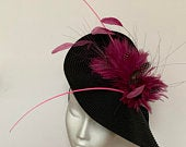 Black Pink Kentucky Derby Hat Fascinator, black pink fascinator hat Wedding Ascot Derby Races Ladies Day garden, purple pink fascinator hat