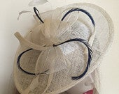 Hatinator Fascinator Hat ivory Cream navy Saucer headpiece with Feathers on hairband, Wedding Hat, Hat for the races, Mother of the bride