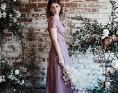 Bridesmaids wrap dress, linen wrap dress, summer, boho wedding, boho bridesmaids, cool bridesmaids, made in UK, pink linen. Sundress.