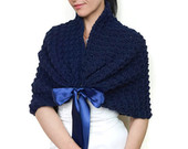 Navy Wedding Dress Cover Up, Blue Bolero Jacket, Crochet Capelet for Bride, Bridesmaid Shawl