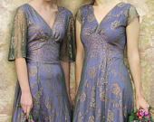 Bespoke Vintage Style Bridesmaid Dresses in Bronze and Sugar Violet Lace
