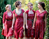 Bespoke Vintage Style Bridesmaid Dresses in Ruby Lace