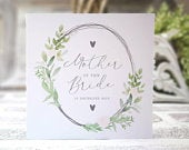 Personalised mother / parents of the bride card. Rustic, greenery, botanical, country floral card. Mother of the Bride or Groom print gift.