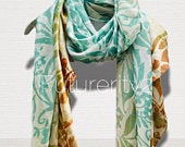 Two Toned Rustic Flowers Pattern Blue Brown Silk Scarf/Spring Summer Scarf/Gifts For Mother/Gifts For Her/Scarves For Women/Birthday Gift