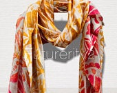 Two Toned Rustic Flowers Pattern Red Brown Silk Scarf/Spring Summer Scarf/Gifts For Mother/Gifts For Her/Scarves For Women/Birthday Gifts