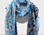 Two Toned Rustic Flowers Pattern Blue Grey Silk Scarf/Spring Summer Scarf/Gifts For Mother/Gifts For Her/Scarves For Women/Birthday Gifts