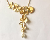 Valentines day gift for her, Necklace for mother, Christmas gifts for women, Orchid Necklace with initial, Flower Necklace, Cascading Orchid