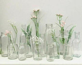 Vintage Style Clear Glass Bottle Small Bud Vase Home Wedding Table Venue Decoration Centrepiece Assorted
