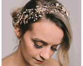 Gold Bridal Headband Bohemian Headpiece Crystal Pearl Hair Vine Flower Halo Wedding Hair Accessories