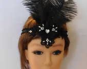 Great Gatsby Headband, Flapper Dress fascinator, Black Headpiece, 1920 Headband, crystal Pearls Feather Fascinator, Black Boho headpiece