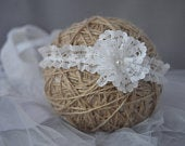 Baby flower hair band for baptism, christening, wedding, ruffle skinny headband in light ivory with small lace flower