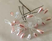 Blush pink pearl and crystal Bridal Wedding hairpins,Headdress.Tiara.Hair comb