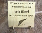 Wedding little wizard drop box alternative guest book sign birthday guestbook rustic vintage wooden dropbox