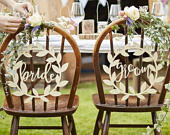 Bride and Groom Wedding Chair Signs, Wooden Chair Signs, Rustic Chair Signs, Top Table Decor, Wedding Signs, Country Wedding