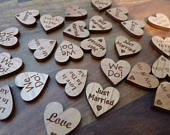 Wood Wedding Table Decorations: Wooden Love Heart Wedding Table Confetti Rustic Scatter hearts