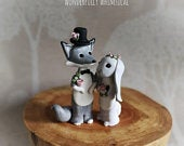 Wolf Bunny Rabbit Wedding Cake Topper Silver Fox Animal Handmade Clay Bride Groom Rustic Woodland Forest Sculpture Custom Keepsake Whimsical