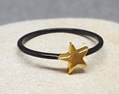 Star Ring. Mini Ring. Tiny Star Ring. Black Ring. InkaCreations. Sky Collection .Mini Moon. Gift for lover. Mother. Daughter. Mothers day