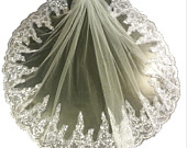 1 Tier LACE EDGE veil 23 long Bridal wedding veil. White, Ivory, girls communion Veil