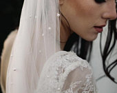 ADELE pearl embellished single tier wedding veil cut edge bridal veil