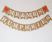 Wedding bunting, Personalised Mr and Mrs bunting, Wedding decorations, Wedding banner