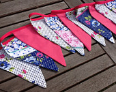 Hot Pink and Navy Bunting / Garland / Fabric Banner 12 large Flags, 10ft Long, Wedding, Summer Celebration, Birthday Parties.