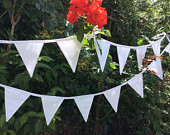 Wedding Bunting / Garland / Fabric Banner 22 Flags, 17ft long, 5m White Wedding Bunting, Birthday Parties.