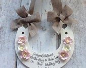 Personalised Wedding Horseshoe lucky keepsake gift to bride and groom on Wedding Day...BURLAP ribbon with pale pink ivory cherry blossoms